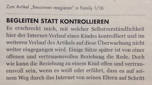 Mein Leserbrief in »Family« 2/2016